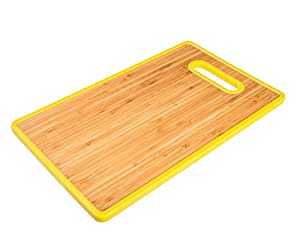 Organic Bamboo Cutting Board, Eco Friendly with Yellow Plastic Trim, Cut Out Handle, Double Sided Antibacterial Slicing Surface for Fast Kitchen Food Prep. Enjoy Easy Chopping!
