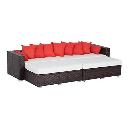 Outsunny 4 Piece Outdoor Patio Pe Rattan Wicker Sectional Sofa Set