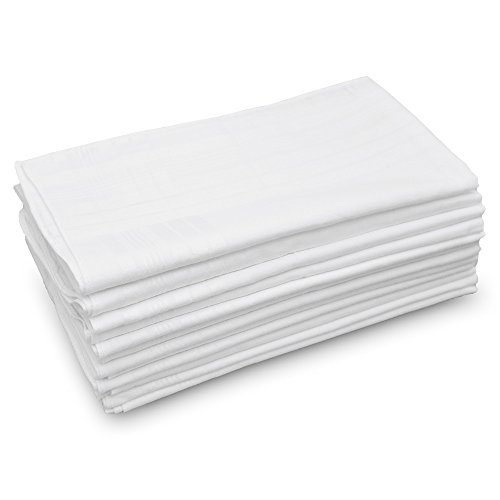 GB Men's Handkerchiefs 100% Cotton Solid White with Stripe Large Classic Hankies Bulk Set 12 Pack