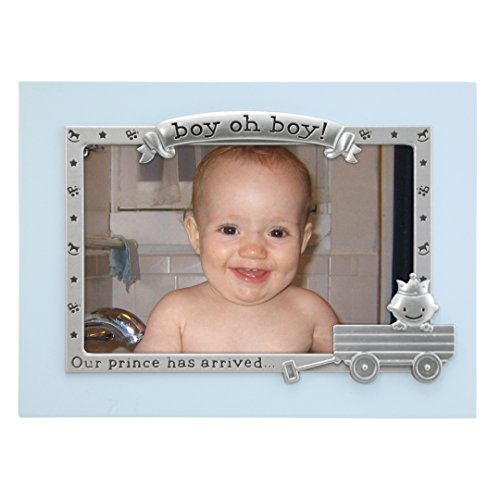 Malden International Designs Boy Oh Boy Juvenile Blue with Silver Metal Border Picture Frame, 4x6, ()