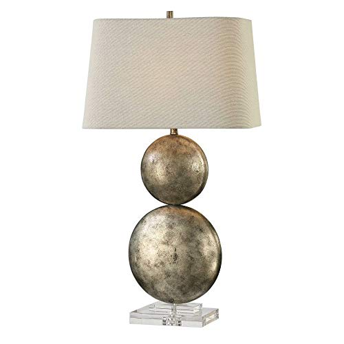 - Uttermost 27758 Ordona - One Light Table Lamp, Antiqued Metallic Silver Champagne Leaf Finish with Light Gray Linen Fabric Shade