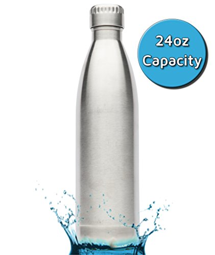 Kuel STAINLESS STEEL WATER BOTTLE (24oz/750ml) - Double-Wall & Vacuum Insulated - Sterling Silver - Eco-Friendly Water Canteen No BPA or Toxins! No Condensation or Metal Aftertaste Travel Thermos!