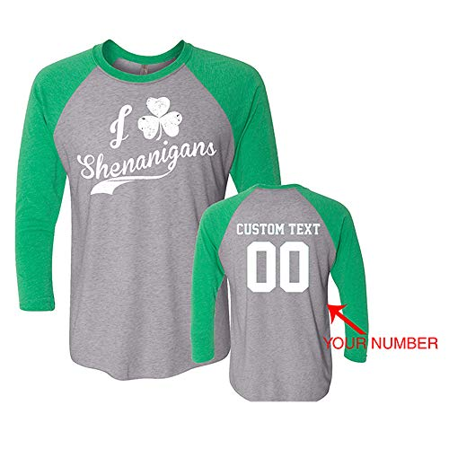 (Just Customized ST Patrick Long Sleeve Customized T-Shirt with Personalized Text Name Number for St. Patrick's Day (Green & Grey: Shenanigans, Small))