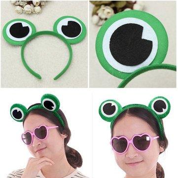Mask & Costumes - Cute Green Frog Eye Headbrand Hair Band Headwear Fancy Dress Costume - Toad Eyeball Anuran Optic Gaul Peeper Batrachian Oculus - - With Hair Hat World Wayne's