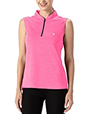 BGOWATU Women's Tennis Polo Shirts Sleeveless Collarless Golf Tank Tops Zip Up Athletic T-Shirt Dry Fit Lightweight