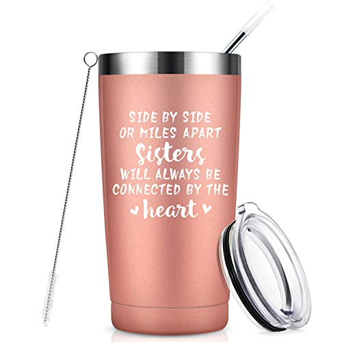 Side by Side or Miles Apart Sisters, Best Sister Gifts from Sister, Funny Birthday Gifts Ideas for Women, Big Little Sister, Best Friend, Soul Sister, Bestie - 20 oz Mug Tumbler with Straw - Rose Gold (Message To Sister In Law On Her Birthday)