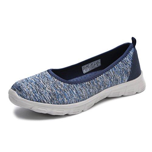 Hawkwell Women's Flexible Slip-on Flat,Blue Fabric,9 M US