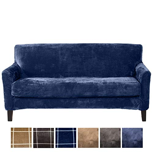 Great Bay Home 2 Piece Modern Velvet Plush Strapless Slipcover. Stretch Furniture Cover. Sorrento Collection (Sofa, Navy - Solid)