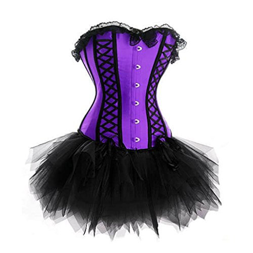 Hübsch Ladies Lace Overlay Ribbon Pin Up Korsett Mit Tutu Rock ...