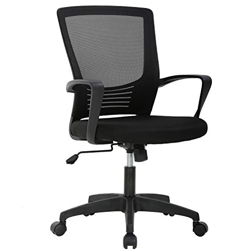 Ergonomic Office Chair Cheap Desk Chair Mesh Computer Chair with Lumbar Support Arms Modern Cute Swivel Rolling Task Mid Back Executive Chair for Women Men Adults Girls,Black (For Computer Desks Chairs)
