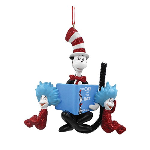Department 56 Dr. Seuss Cat in the Hat with Book Ornament, 3.74 inch ()
