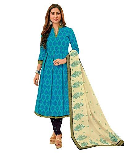 Ladyline Readymade Pure Cotton Printed Salwar Kameez with Churidar Pants (Size_36/ Blue)