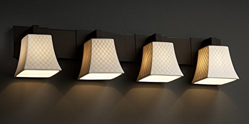 Justice Design Group Limoges 4-Light Bath Bar - Dark Bronze Finish with Checkerboard Translucent Porcelain Shade