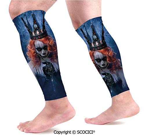 Flexible Breathable Comfortable Leg Skin Protector Sleeve Queen of Death Scary Body Art Halloween Evil Face Bizarre Make Up Zombie Calf Compression Sleeve -