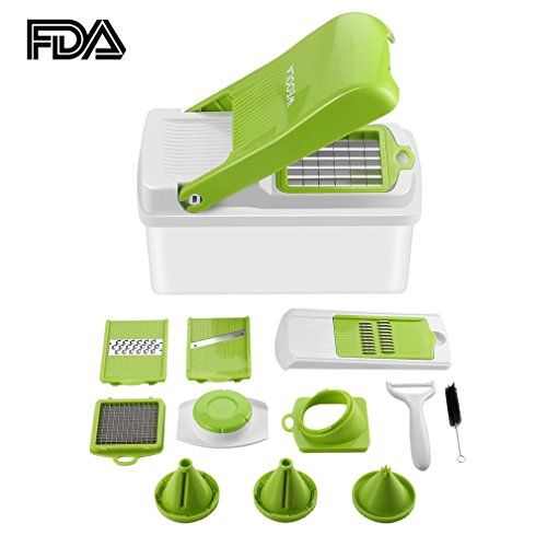 Vegetable Slicer Dicer Food Chopper Kitchen Cutter, WEOOLA  Cheese Grater with Stainless Steel Adjustable Multi Blades and Storage Container for Onion Potato Tomato Fruit Extra Peeler (Wonder Peeler)