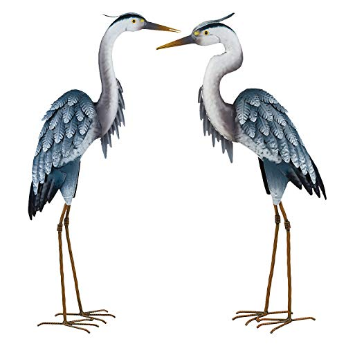 Aunt Gert's Garden Pair of Painted Metal Blue Heron Statuary ~ Yard - Garden Blue Statue Heron