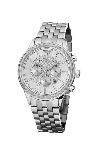 Emporio Armani Classic Chronograph AR0580 – Reloj analógico de cuarzo para hombre, correa de acero inoxidable color plateado (cronómetro)