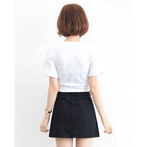 KIMODO T Shirt Damen Sommer Kurzarm Bluse Damen Top L/ösen Patchwork Casual Knopf Blusen Mode 2019