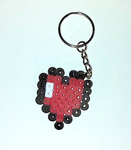 Handmade Video Game 8-Bit Heart Charm Keychain, Geek Love Keychain