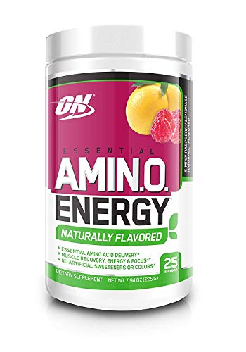 OPTIMUM NUTRITION Naturally Flavored Essential Amino Energy, Simply Raspberry Lemonade, Keto Friendly Preworkout and Essential Amino Acids with Green Tea and Green Coffee Extract, 7.94 Ounce (1 - Flavored Vitamins Stevia