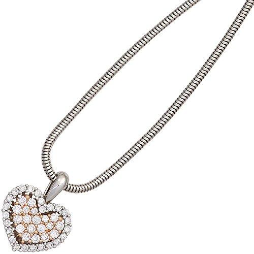 JOBO pendentif en forme de cœur en or blanc 585 serti de diamants brillants à 43