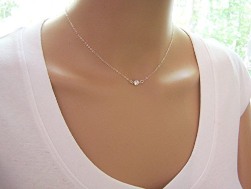 Tiny Sparkling CZ Choker Necklace – Sterling Silver Dainty Everyday Simple Jewelry – Diamond Alternative