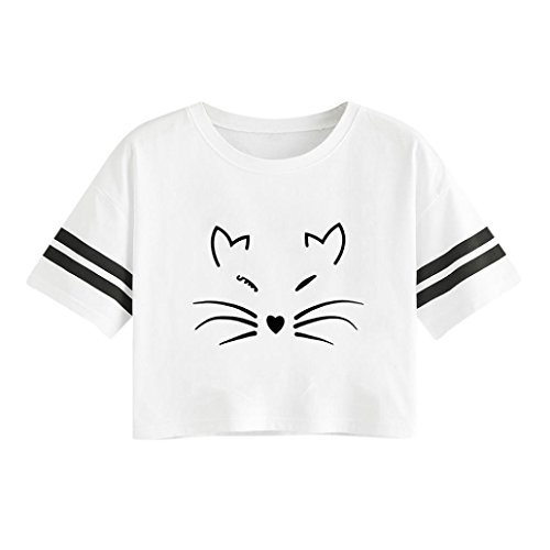 Shirt Impression XL ~ T Wolfleague de Ray Court Blanc Manche Casual Chemise Blouse Chemisier Courte t Femmes Chat S Tops gvwvURqt