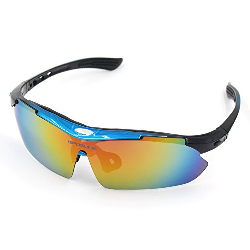 Polarized Sports Sunglasses, Sposune Cycling Running Fishing Driving Eyewear with Lightweight Frame Anti Glare for Adults and Teen' Golf Tennis Baseball UV400 with 5 Interchangeable - Dragon Prescription Sunglasses