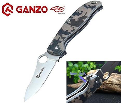 Ganzo – tarnung G10 fibra de vidrio antideslizante Handle Scales, Liner Lock, cuchillo de acero inoxidable Caza supervivencia cuchillo Hunting Folding ...