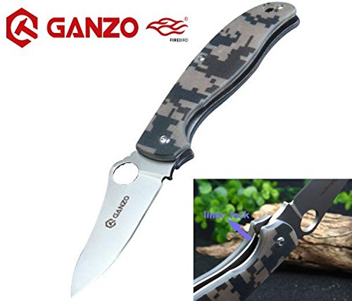 Unit Tool Camo - GANZO - Camouflage Machined G10 Fiber Glass Anti-Slip Handle Scales Steel Liner Lock Folding Tactical Survival Knife Blade with Clip, Pouch, Army Green - G734-CA