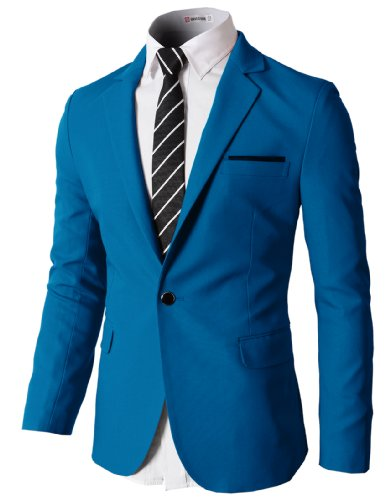 (H2H Mens Slim Fit Single One Button Blazer Jackets with Pocketchief Trim Blue US M/Asia L)