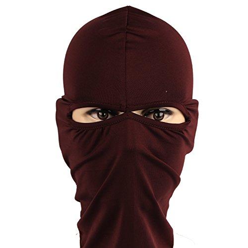 Rioriva 2 Hole Khaki Womens Knitted Winter Ski Balaclava Full Face Beanie Hood Cap Hat Mask (Twohole-khaki)