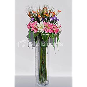 Large Tropical Pink Amaryllis, Purple Iris, Orange Calla Lily and Bird of Paradise Floral Display 1