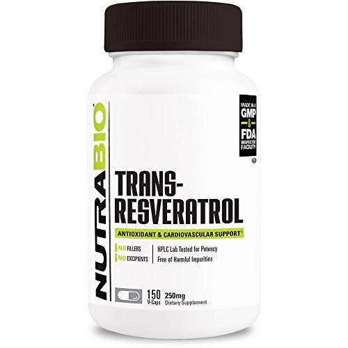 NutraBio Trans-Resveratrol Supplement (150 Capsules, 250mg)