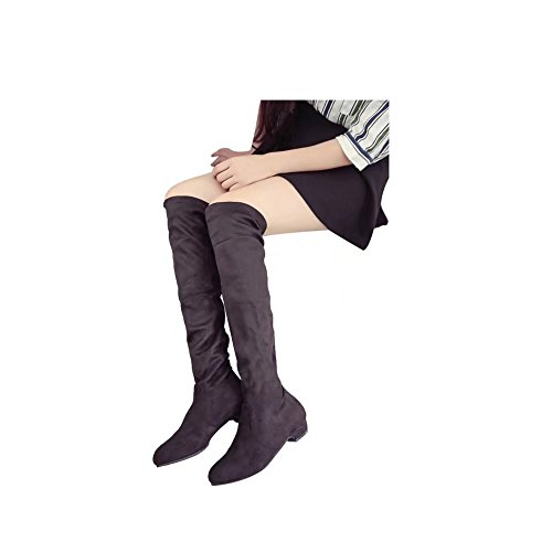 Head High Sexy ED Knee Heel Heels Brown Round Boots Thick Suede Block Over Womens The Boot qB0wxX0A