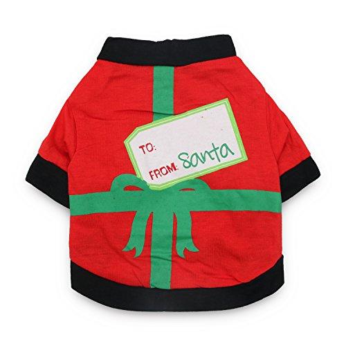 DroolingDog Dog Christmas Clothes Pet Xmas Costume Cat Santa T Shirt Pet Tee Shirts for Small Dogs, L, Black