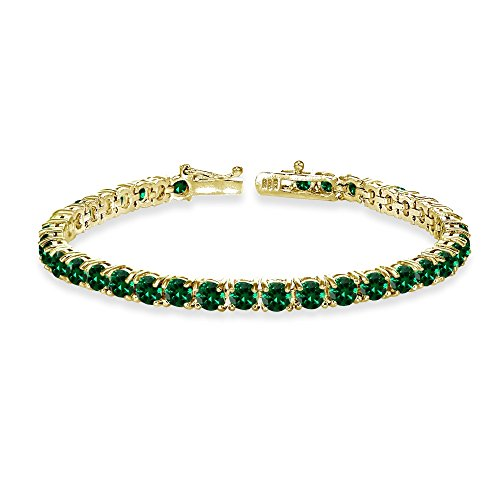 GemStar USA Yellow Gold Flashed Sterling Silver 4mm Simulated Emerald Round-Cut Tennis Bracelet