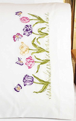 Janlynn Embroidery Kit Tulip Garden Pillowcase Pair ()