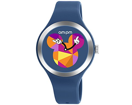 (Disney Blue Unisex Watch by AM:PM Multicolor Mickey Mouse Logo Silicone Strap DP155-U536 )