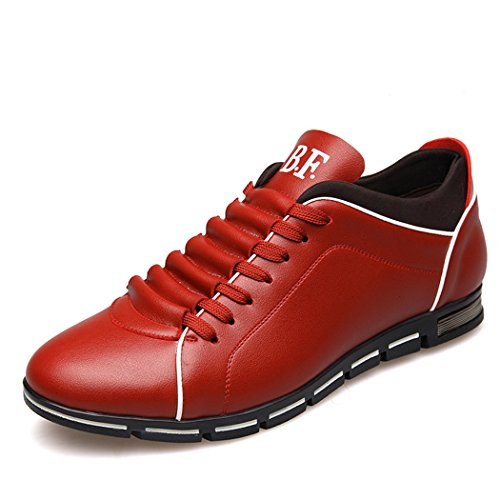 Soleil Lorence Hommes Casual Respirant Chaussures De Course En Cuir Sport Sneakers Mode Rouge