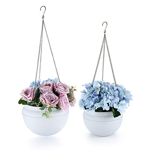 T4U Plastic Self Watering Hanging Planter Pot Set of 2, Modern Basket with Watering Hole Hanger Pot for Most Plants Flowers Herbs African Violets for Indoor and Outdoor Decoration