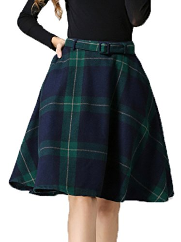 Sankill Women's High Waisted Wool Check Print Plaid Aline Skirt (Check Print Skirt)