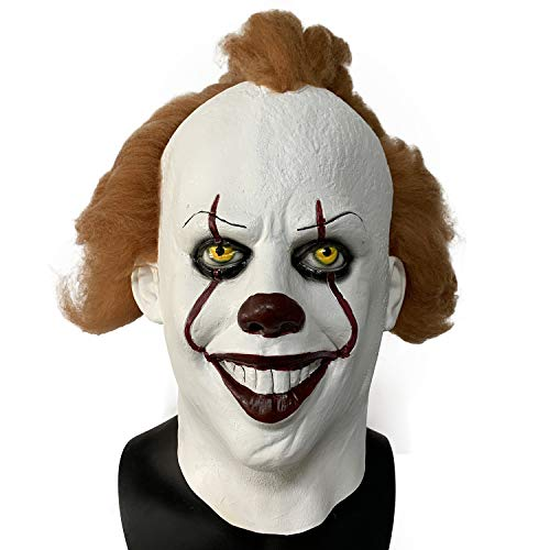 ZhangHD It Pennywise Cosplay Latex Mask Stephen King's Scary Clown Mask Joker Costume Halloween Party (C)]()