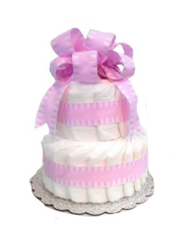 [Classic Pastel Baby Shower Diaper Cake (4 Tier, Pink)] (4 Tier Baby Cake)