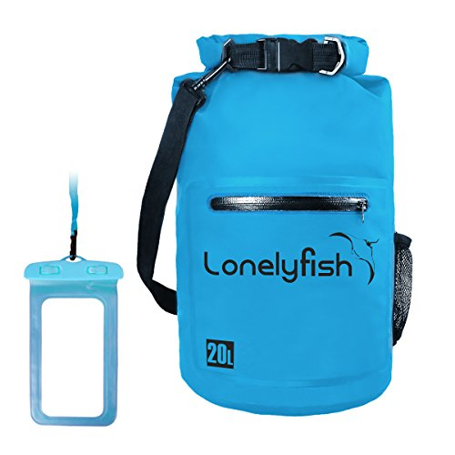 Dry Bag - Waterproof Roll Top Dry Sack with Transparent Window, Exterior Zip Pocket, Long Shoulder Strap for Kayaking, Rafting, Camping, Hiking & Fishing - Waterproof Phone Case Included (Blue, 20L)
