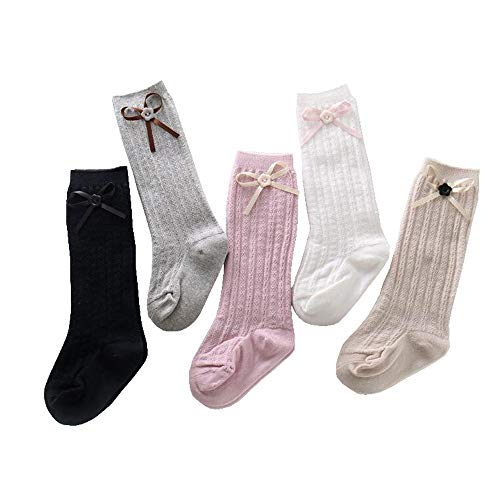 Price comparison product image SMALLE  Clearance,5Colors 5Pairs Knee High Cable Knit Cotton Sock Newborn Baby Girl Boy Toddler