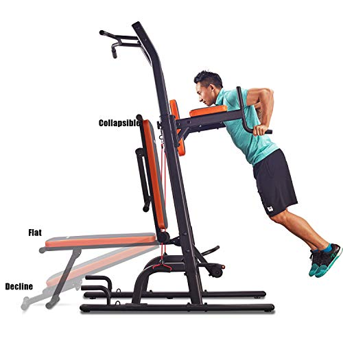 HARISON Multifunction Power Tower with Bench Home Gym Exercise Equipment, Dip Stands, Free Standing Pull Up Bars, Push Up and Dip Station, Vertical Knee Raise, Dip and Pull up Station