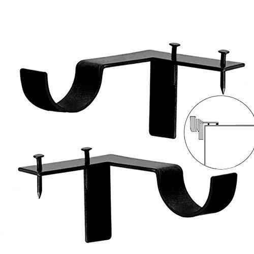 Jashem Curtain Rod Bracket 2 Pieces Drapery Rods Holders Single Window Frame Black Rob Bracket for Home Decoration (Trim Curtains On)