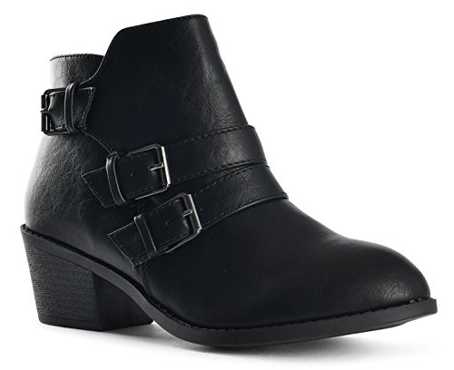 LUSTHAVE Riley Womens Chelsea Round Toe Western Cowgirl Low Heel Closed Toe Casual Ankle Bootie Black-4 rUwgz