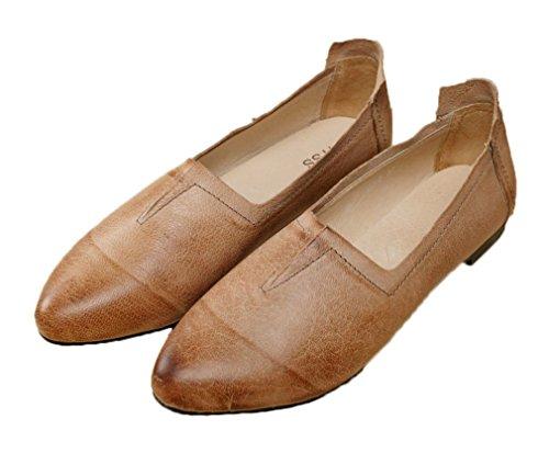Soojun Womens Classiques Bout Pointu Chaussures Glisser Sur Des Appartements En Cuir Beige